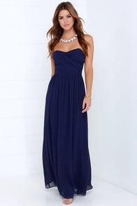 Royal Engagement Strapless Navy Blue Maxi Dress at Lulus.com!