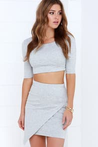 Letters to France Heather Grey Two-Piece Dress at Lulus.com!