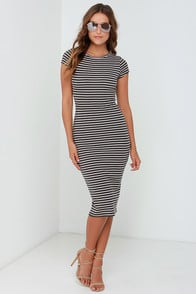 Billabong Twist of Fate Grey Striped Midi Dress at Lulus.com!