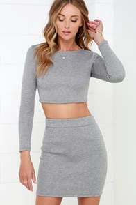 My Pad or Yours? Grey Padded Two-Piece Dress at Lulus.com!