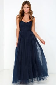 Garden Tulle Navy Blue Maxi Dress at Lulus.com!