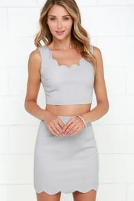 Scallop to Something Light Grey Two-Piece Dress at Lulus.com!