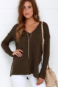 All Together Now Olive Green Sweater at Lulus.com!
