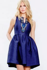 Heart Skips a Bead Royal Blue Skater Dress at Lulus.com!