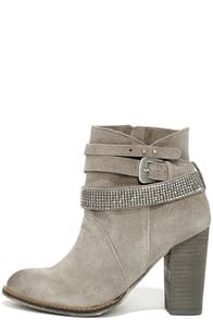 Chinese Laundry Zanga Grey Suede Leather Ankle Boots at Lulus.com!