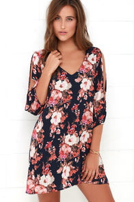 Shifting Dears Navy Blue Floral Print Dress at Lulus.com!