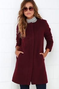BB Dakota Regan Burgundy Coat at Lulus.com!