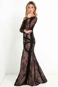 Bariano Right as Reign Beige and Black Lace Maxi Dress at Lulus.com!
