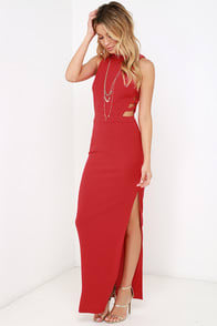 Intents and Purposes Red Sleeveless Maxi Dress at Lulus.com!