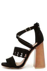 Get Down Tonight Black High Heel Sandals at Lulus.com!