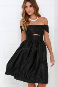 Keepsake Confession Black Off-the-Shoulder Dress at Lulus.com!