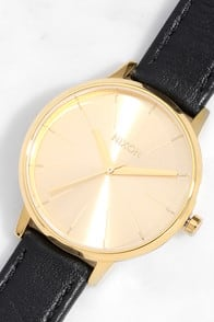 Nixon Kensington Leather Gold Watch at Lulus.com!