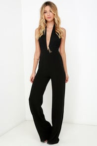 Keep Playing That Song Black Halter Jumpsuit at Lulus.com!