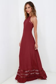 Spellbound and Determined Wine Red Lace Maxi Dress at Lulus.com!