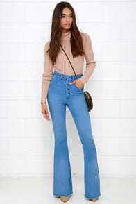 Somedays Lovin' Dylan Blue High-Waisted Flare Jeans at Lulus.com!
