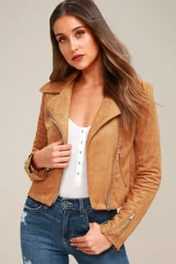 SUEDE WITH LOVE TAN SUEDE MOTO JACKET at Lulus.com!