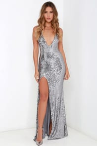 Entice and Everything Nice Silver Backless Sequin Maxi Dress at Lulus.com!