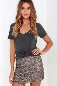 Billabong Showin' Off Bronze Sequin Skirt at Lulus.com!
