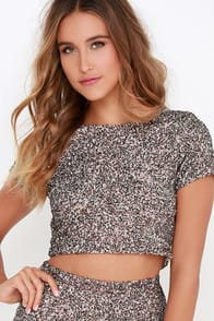 Billabong Showin' Off Bronze Sequin Top at Lulus.com!