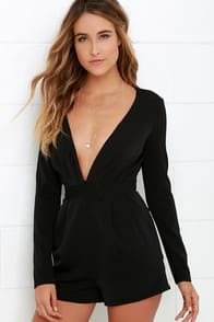 Steep Slope Black Long Sleeve Romper at Lulus.com!