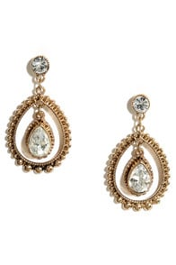 Poet and Playwright Gold Rhinestone Earrings at Lulus.com!