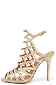 Steve Madden Slithur Gold Leather Caged Heels at Lulus.com!