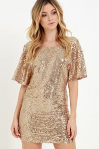 Throne-Worthy Bronze Sequin Shift Dress at Lulus.com!