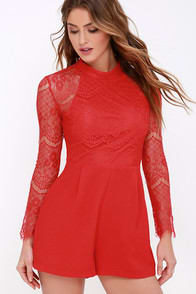 Express Yourself Red Lace Romper at Lulus.com!