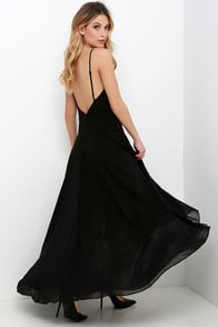 Romantic Rendezvous Black High-Low Dress at Lulus.com!