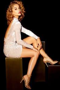 Oh, Behave! Beige Velvet Bodycon Dress at Lulus.com!
