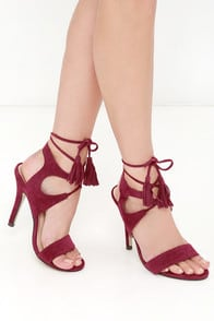 Forces of Nature Red Suede Lace-Up Heels at Lulus.com!