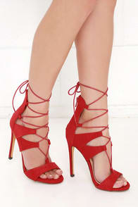 Playing with Fire Red Snakeskin Lace-Up Heels at Lulus.com!