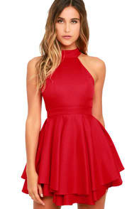 Dress Rehearsal Red Skater Dress at Lulus.com!