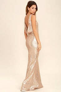Slink and Wink Matte Rose Gold Sequin Maxi Dress at Lulus.com!