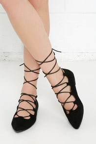 Happy Trending Black Suede Lace-Up Flats at Lulus.com!