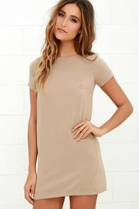 SHIFT AND SHOUT BEIGE SHIFT DRESS at Lulus.com!