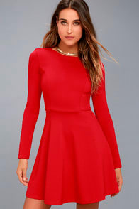 Forever Chic Red Long Sleeve Dress at Lulus.com!