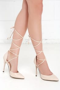 Winning Strategy Nude Lace-Up Pumps at Lulus.com!