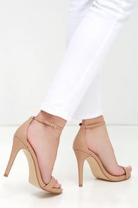 Steve Madden Stecy Natural Ankle Strap Heels at Lulus.com!