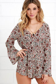 Amuse Society Karina Cream Floral Print Romper at Lulus.com!