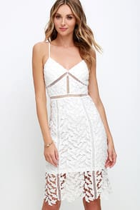 Burning Desire Ivory Lace Dress at Lulus.com!