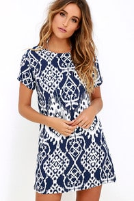 Lucy Love Charlotte Navy Blue Print Shift Dress at Lulus.com!