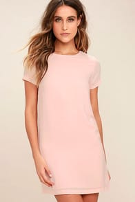 Shift and Shout Blush Pink Shift Dress at Lulus.com!