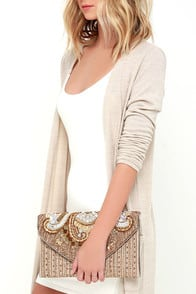 Constantinople Gold Beaded Clutch is on-hand at Lulus.com!