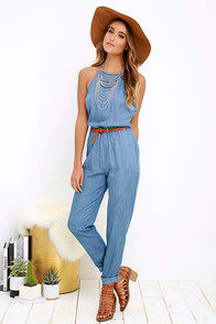 RVCA Be About It Blue Chambray Jumpsuit at Lulus.com!