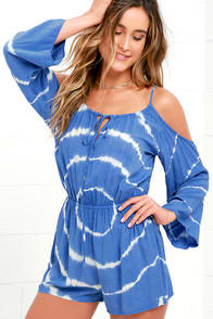 Cloud Keeper Periwinkle Blue Tie-Dye Romper at Lulus.com!