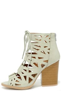 Shape on You Ash Grey Cutout Lace-Up Booties at Lulus.com!