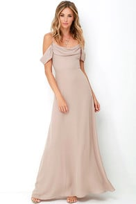 Reflective Radiance Taupe Maxi Dress at Lulus.com!