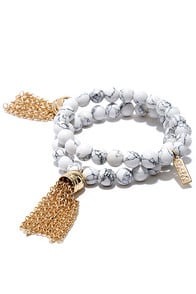 Granite Me a Wish Gold and Ivory Bracelet Set at Lulus.com!