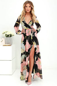 Wondrous Water Lilies Black Floral Print Maxi Dress at Lulus.com!